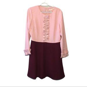 NWT Ted Baker Dusky Pink Long Sleeve Ruffle Dress